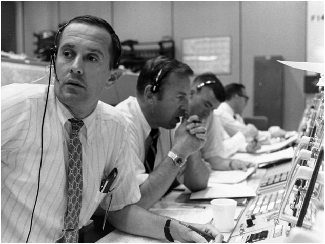 Mission Control monitoring the lunar landing